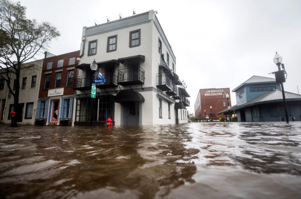 High waters flood Market and Water Streets as Hurricane Florence comes ashore in Wilmington, N.C., on Friday.